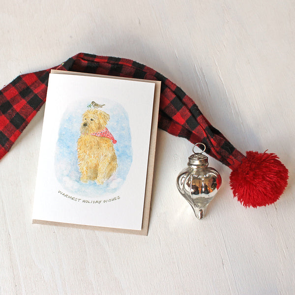 Set of holiday cards featuring a cute dog. Wheaten terrier watercolor by Kathleen Maunder