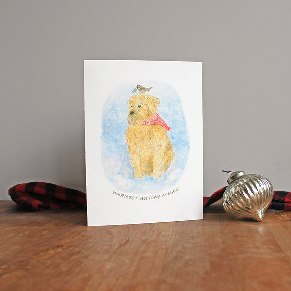 Wheaten Terrier Christmas Card - Dog Holiday Card by artist Kathleen Maunder