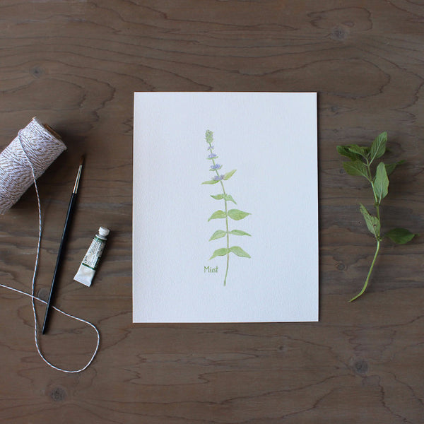 Mint watercolor print by watercolor artist Kathleen Maunder of Trowel and Paintbrush