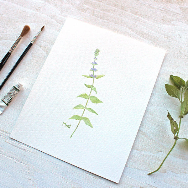 Print of mint watercolor painting by artist Kathleen Maunder, trowelandpaintbrush