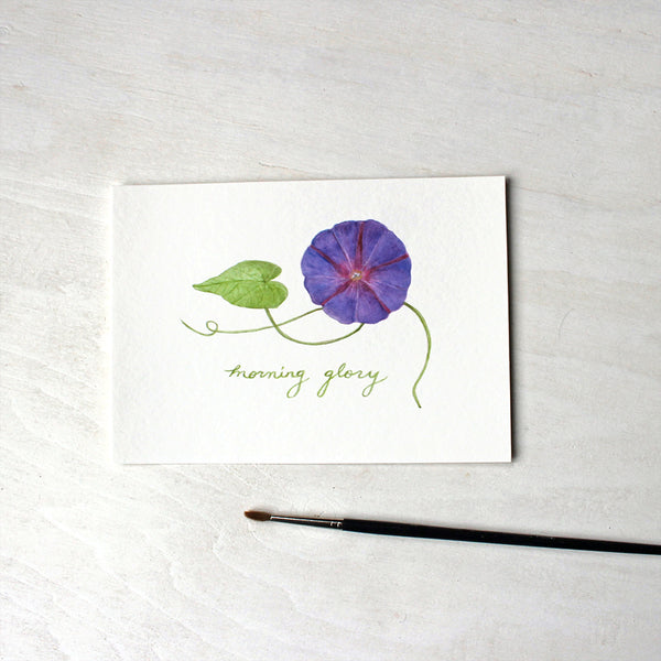 Purple morning glory watercolour print by Kathleen Maunder