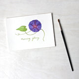 Watercolor painting of a purple morning glory - available as 5 x 7 print. Artist Kathleen Maunder.