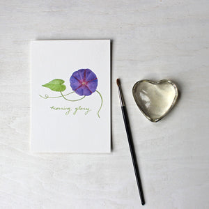 Purple morning glory watercolor print by Kathleen Maunder