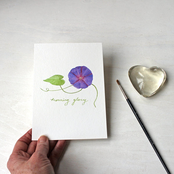 Purple morning glory watercolor print by artist Kathleen Maunder