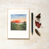 Sunset Note Cards - Watercolor by Kathleen Maunder - Scene from Muskoka Ontario