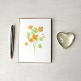 Orange nasturtium blank note cards based on a watercolor painting by Kathleen Maunder