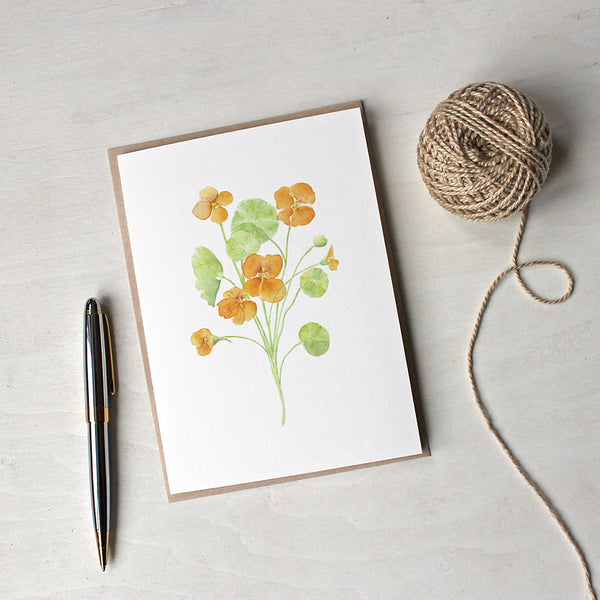 Note card featuring a watercolor painting of nasturtiums by Kathleen Maunder