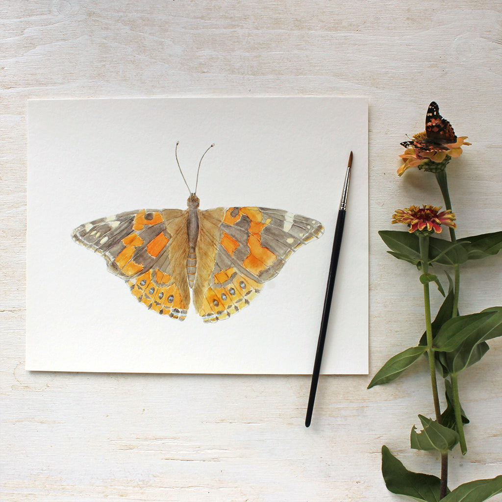 Watercolor of painted lady butterfly by Kathleen Maunder, available as a print