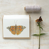 Note card set featuring a painted lady butterfly watercolor by Kathleen Maunder