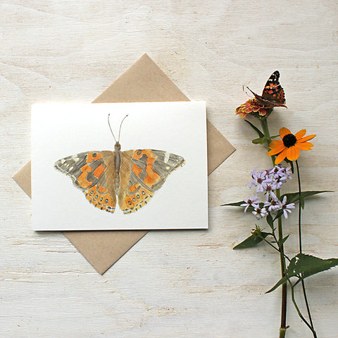 Painted lady butterfly watercolor note cards by Kathleen Maunder of Trowel and Paintbrush