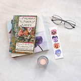 Pansy bookmark featuring watercolors by Kathleen Maunder