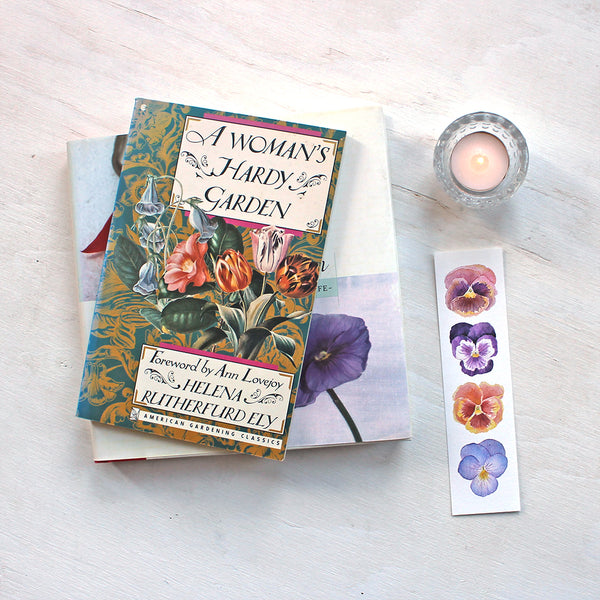 Bookmark featuring four pansies - art by watercolor artist Kathleen Maunder