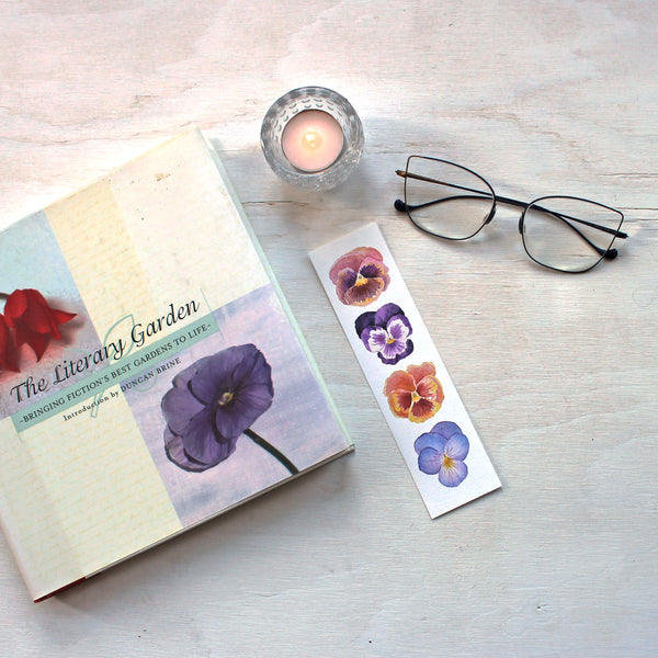 Pansies bookmark featuring watercolors by Kathleen Maunder