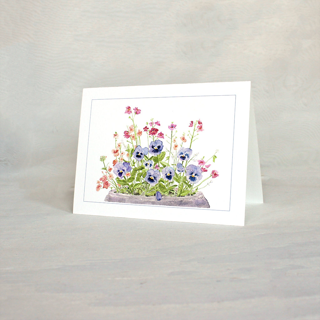 Pansies in a pot - note cards featuring a watercolor painting by Kathleen Maunder