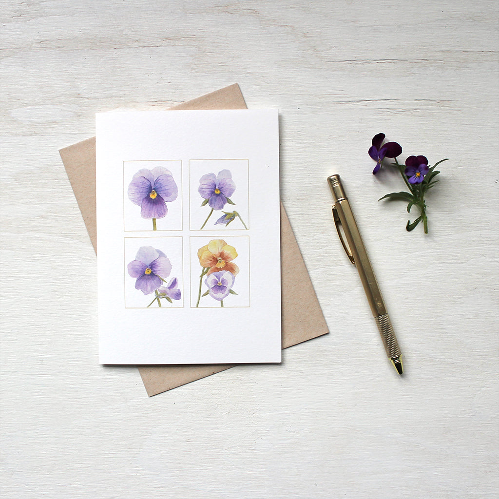 A quartet of pansy images painted in watercolor and featured on notecards. Artist Kathleen Maunder.