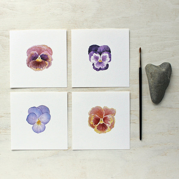 Collection of four prints of pansies by watercolor artist Kathleen Maunder, trowelandpaintbrush