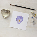 Light purple pansy print by watercolour artist Kathleen Maunder, trowelandpaintbrush
