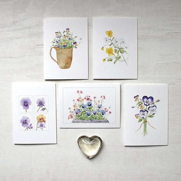 Set of five notecards with assorted watercolor paintings of pansies and violas by artist Kathleen Maunder.