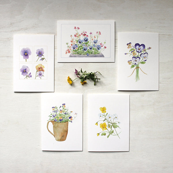 Assortment of five notecards with watercolour paintings of pansies and violas. Artist Kathleen Maunder.