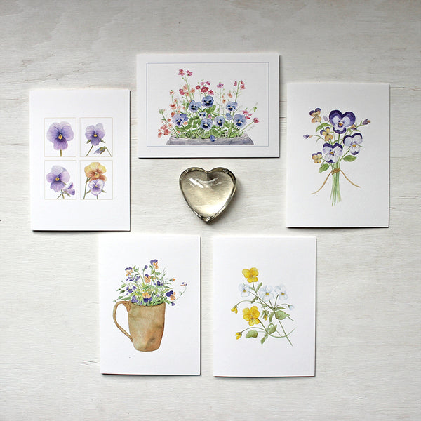 Assortment of five notecards with watercolor paintings of pansies and violas by artist Kathleen Maunder.