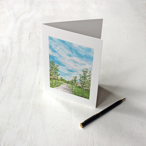 Pathway Note Card by watercolor artist Kathleen Maunder of Trowel and Paintbrush