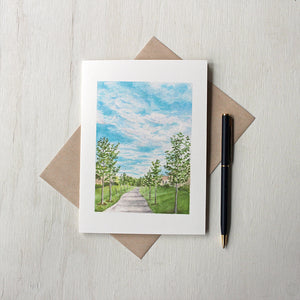 Note cards featuring a watercolor painting of a pathway by Kathleen Maunder