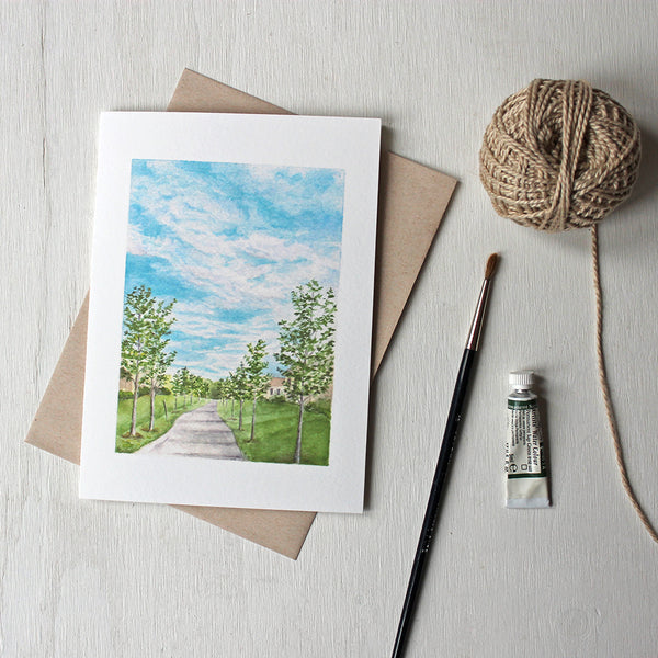 Note cards featuring a landscape painting of a pathway by watercolour artist Kathleen Maunder