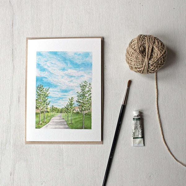 Pathway Note Card by watercolor artist Kathleen Maunder. A landscape scene from Boucherville Quebec.