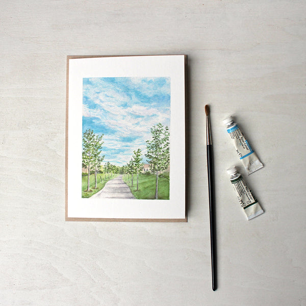 Pathway Note Card by watercolor artist Kathleen Maunder. Featuring a landscape scene from Boucherville Quebec.