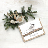 Set of holiday cards with watercolor image of chickadee and 'peace love joy' greeting