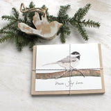 Chickadee holiday cards with 'Peace Joy Love' greeting by watercolor artist Kathleen Maunder