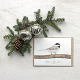 Watercolor cards with chickadee and 'Peace Joy Love' holiday greeting