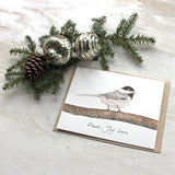 Watercolor cards with chickadee and 'Peace Joy Love' message by Kathleen Maunder