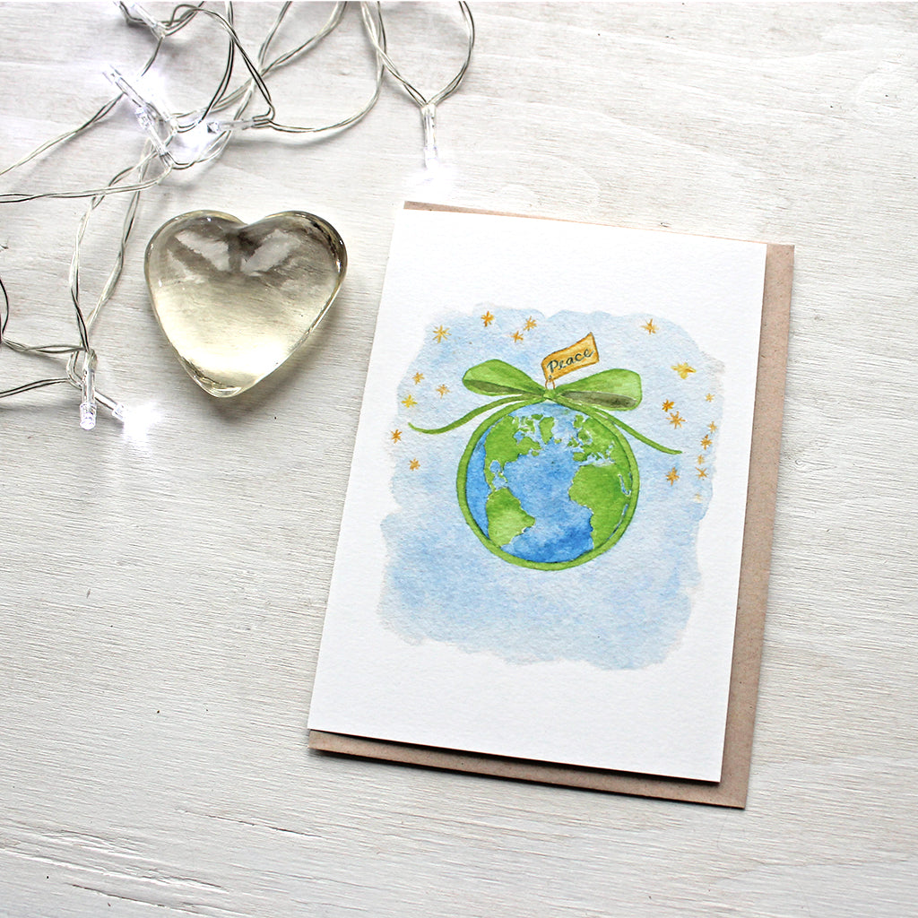 Peace on Earth watercolor holiday cards by Kathleen Maunder of Trowel and Paintbrush