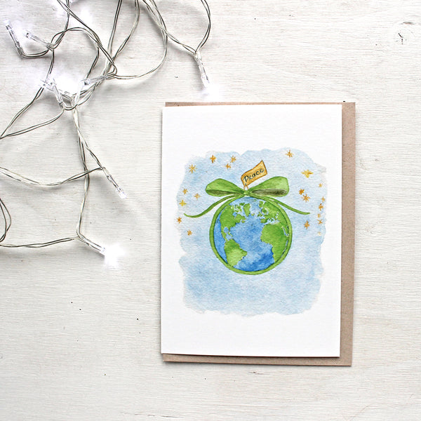 Peace on Earth watercolor card by artist Kathleen Maunder of Trowel and Paintbrush