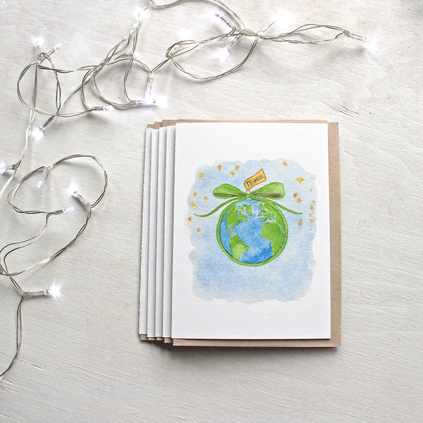 Peace on Earth watercolour Christmas cards by Kathleen Maunder of Trowel and Paintbrush