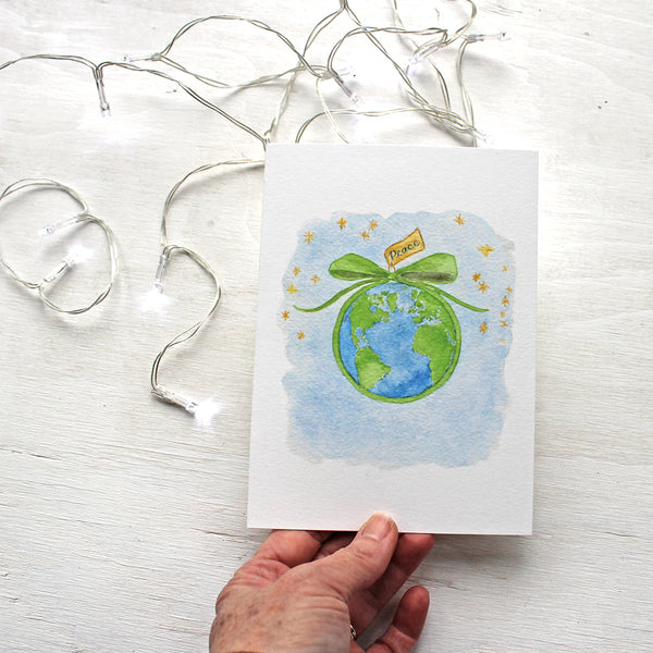 Peace on Earth holiday cards by watercolor artist Kathleen Maunder of Trowel and Paintbrush