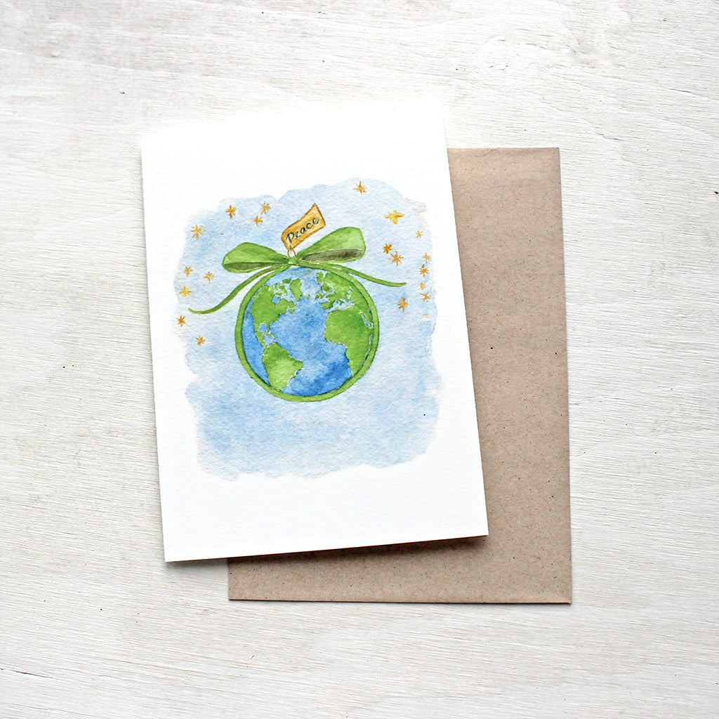 peace on earth holiday cards trowel and paintbrush