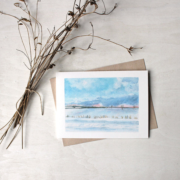 Peaceful Snowy Winter Landscape Note Cards - Watercolor painting by Kathleen Maunder