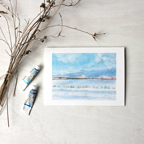 Peaceful Winter Landscape Note Cards - Watercolor painting by Kathleen Maunder