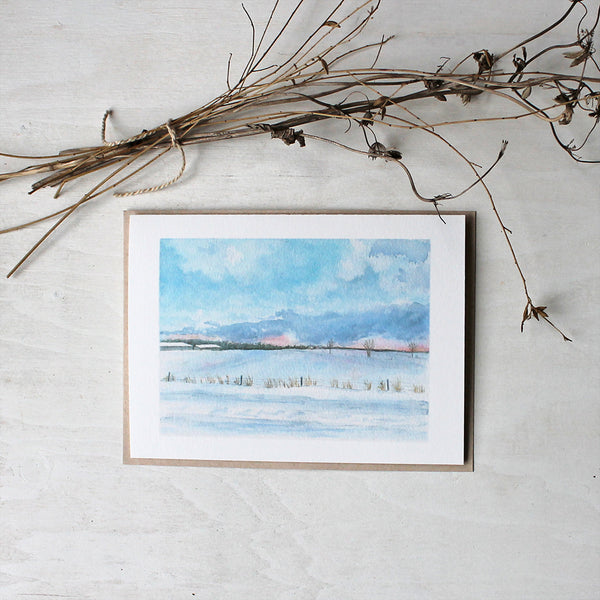 Peaceful Winter Rural Landscape - Note cards based on a watercolor by Kathleen Maunder