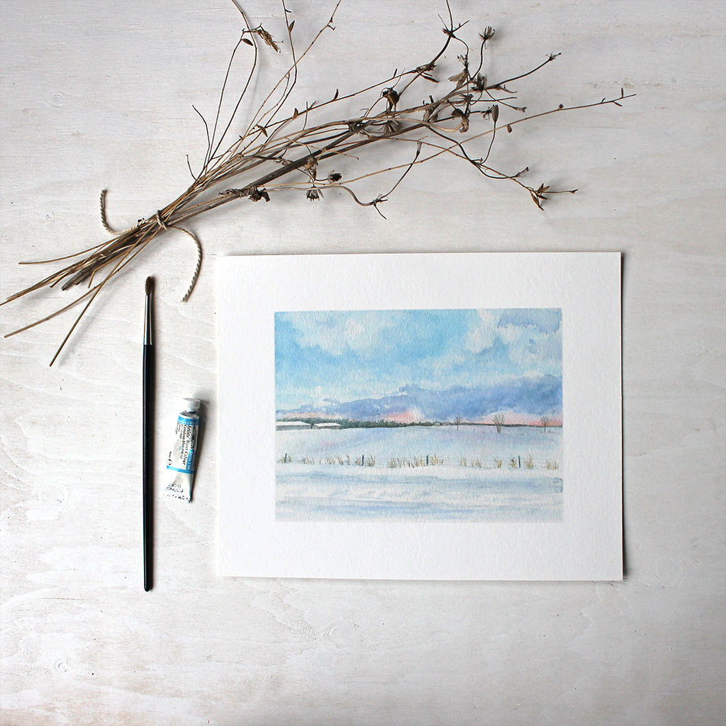 Peaceful Winter Landscape - 8 x 10 print - Watercolor by Kathleen Maunder
