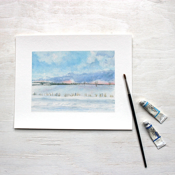 Peaceful Winter Landscape - Print based on a watercolor by Kathleen Maunder