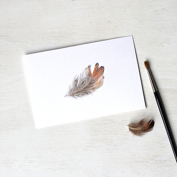Print of a pheasant feather watercolor painting by Kathleen Maunder.