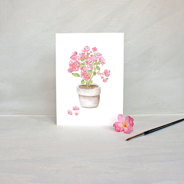 Botanical note card featuring a watercolor painting of pink begonias by Kathleen Maunder