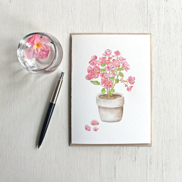 Pink begonia in a pot - Set of note cards based on a watercolour painting by Kathleen Maunder