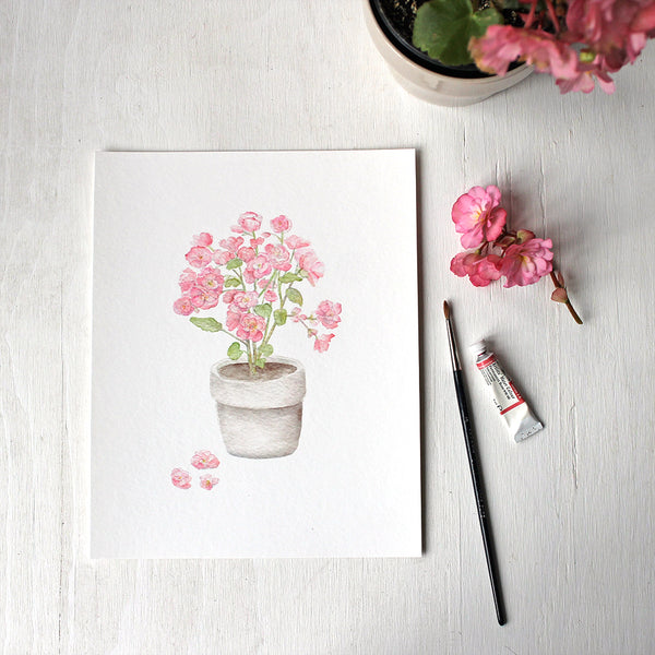 Pink begonia plant in a pot - Print based on a watercolor painting by Kathleen Maunder