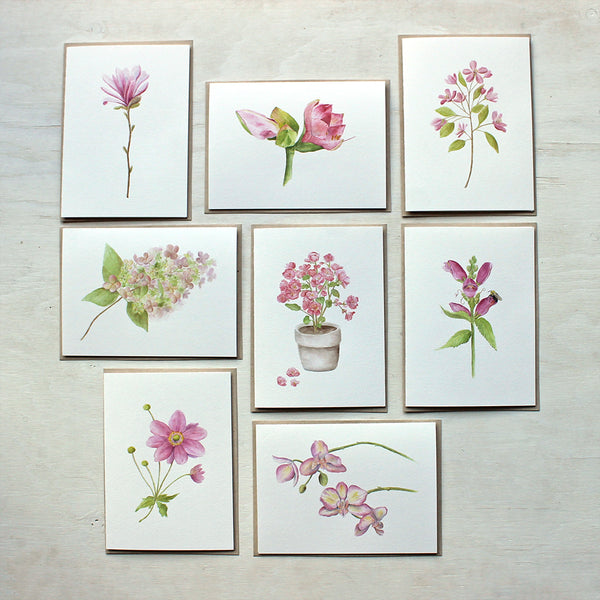 Set of eight note cards featuring pink flowers. Painted in watercolor by Kathleen Maunder.