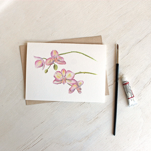 Pink and yellow orchids on note card by watercolor artist Kathleen Maunder