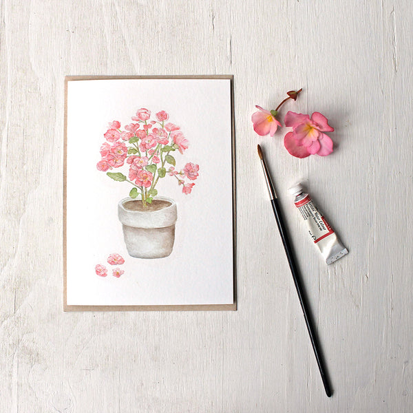 Pink begonia note card with kraft paper envelope - by watercolor artist Kathleen Maunder